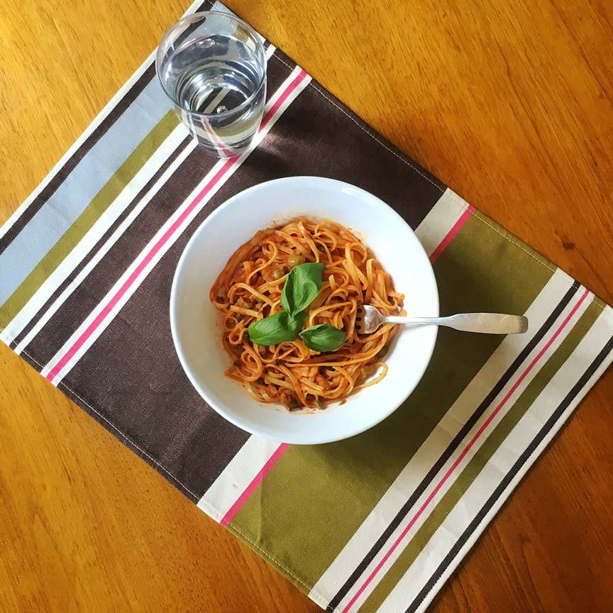Linguine with Caper and Green Olive Sauce.Image via  @lweatherbee