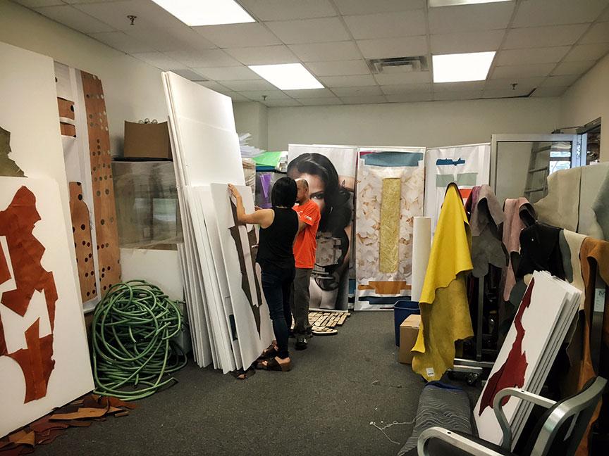 Jean preparing her latest exhibition.Image via  @lweatherbee