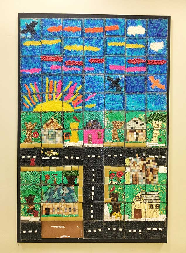 Coloful artwork made from beads.Image via  @lweatherbee