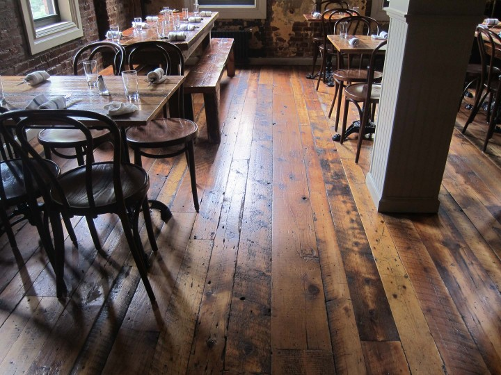 Northeast Softwoods Skip Planed flooring at Barboncino pizzeria in Brooklyn. Image via  Sawkill Lumber Company .