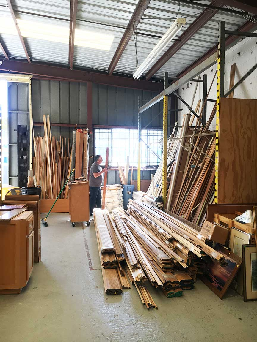 Lumber and moldings for sale at the ReStore.