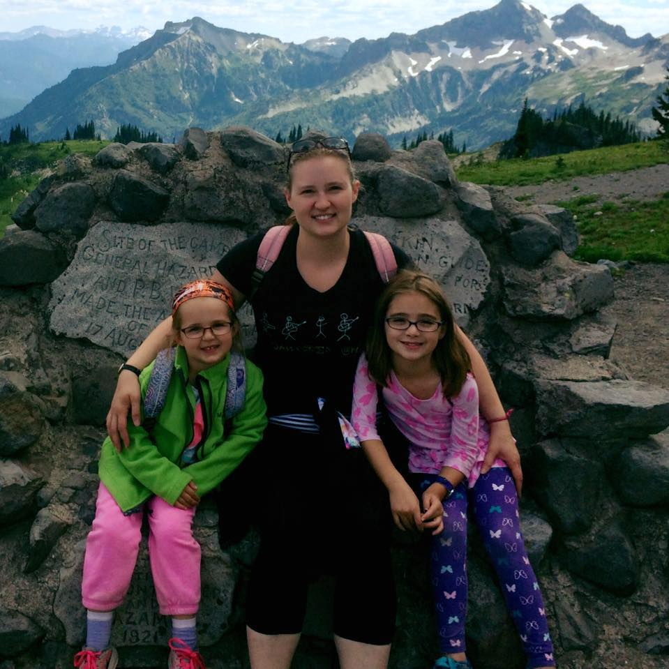 Kate Scarcella with her daughters.