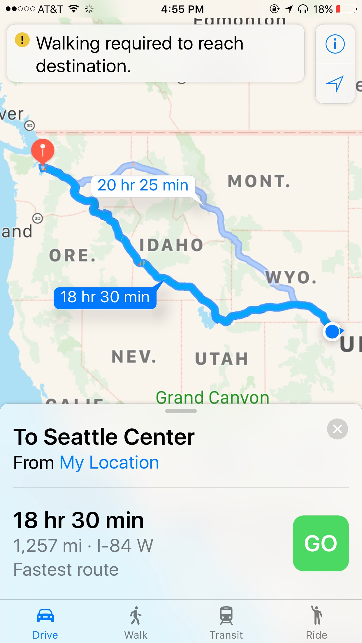 Route From Colorado To Seattle, WA