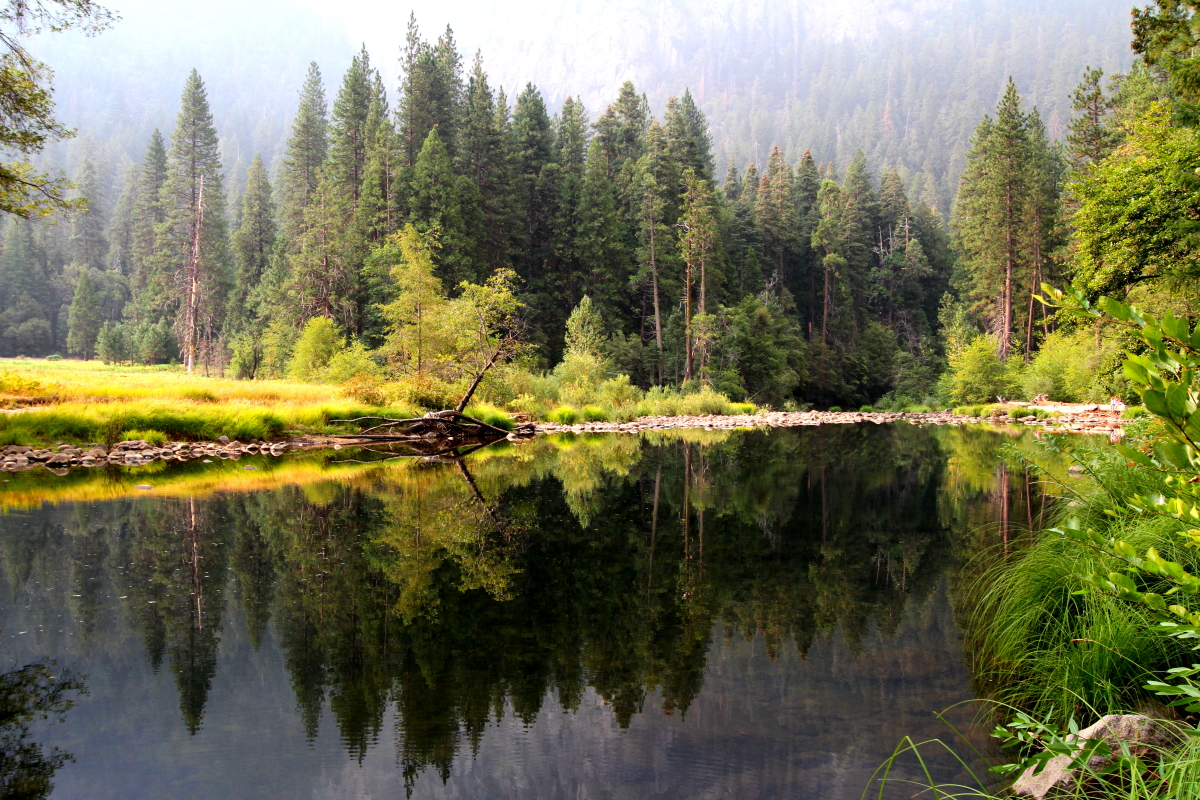 Merced River in Yosemite Valley, Smoky from Rim Fire
