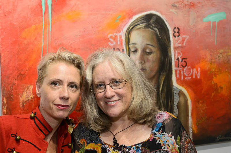 Kathrin Longhurst & Stephanie Galloway Brown at Trilogy Exhibition. Thanks to  Michael Mannington  for the image.