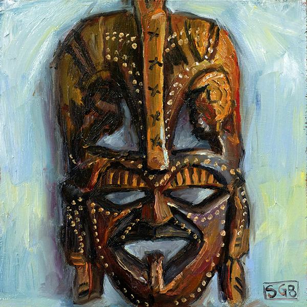 "African Mask, oil on board, 6""x6"""