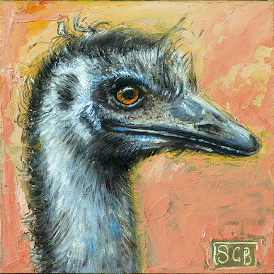 """Curious Emu, oil and beeswax n board, 6""""x6"""", ©GallowayBrown"""