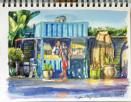 Coffee Kiosk at Palm Beach, watercolour sketch, Stephanie GallowayBrown