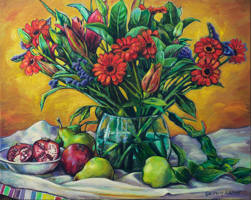 Pomegranates and Pears, 76 x 61cm, oil on canvas ©Galloway Brown