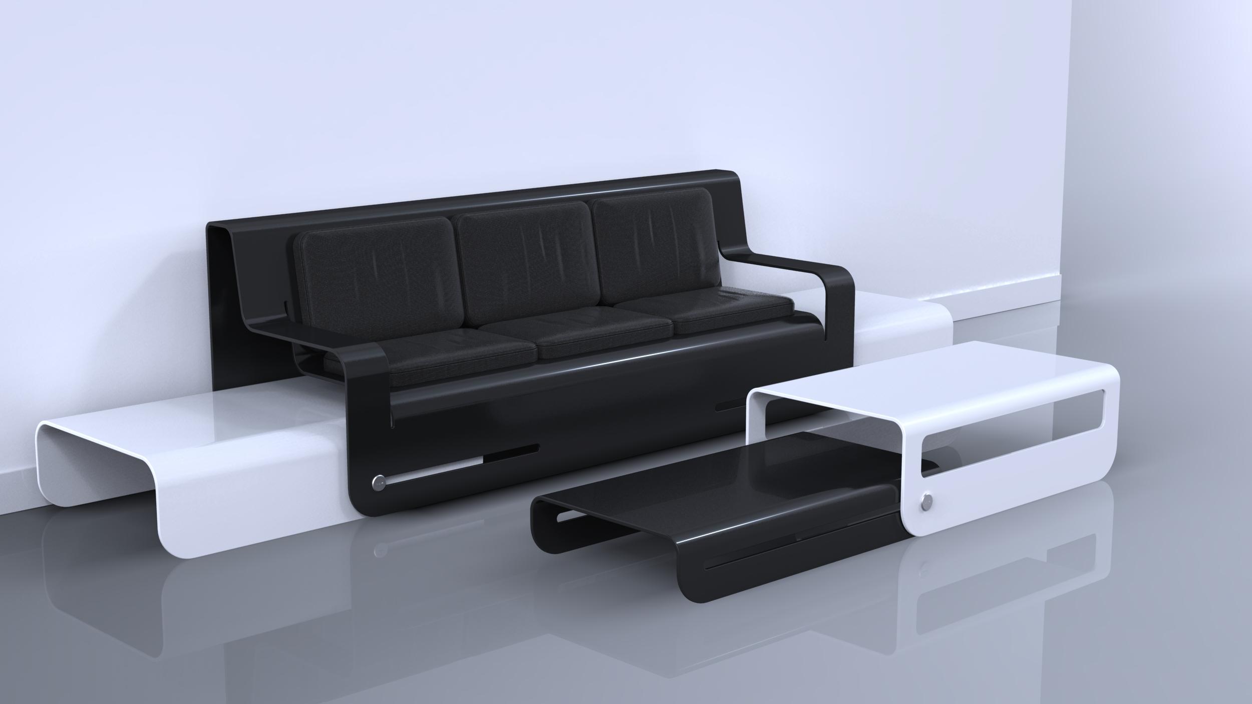 Side Slide Black Twin Plywood Lounge
