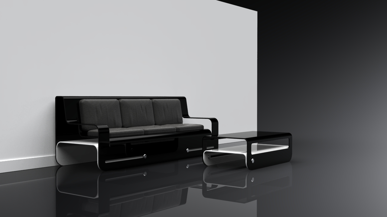 Black Lounge + Coffee Table Set Design