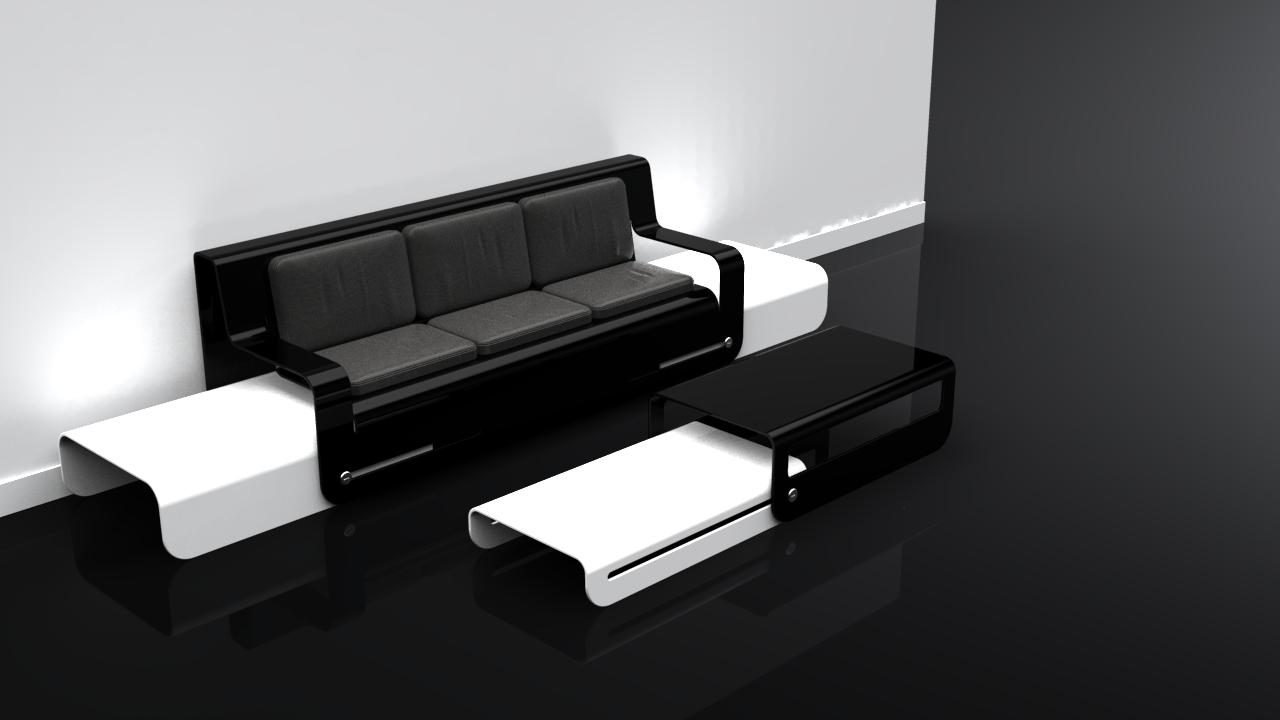 Side Slide (White) Black Coffee Table