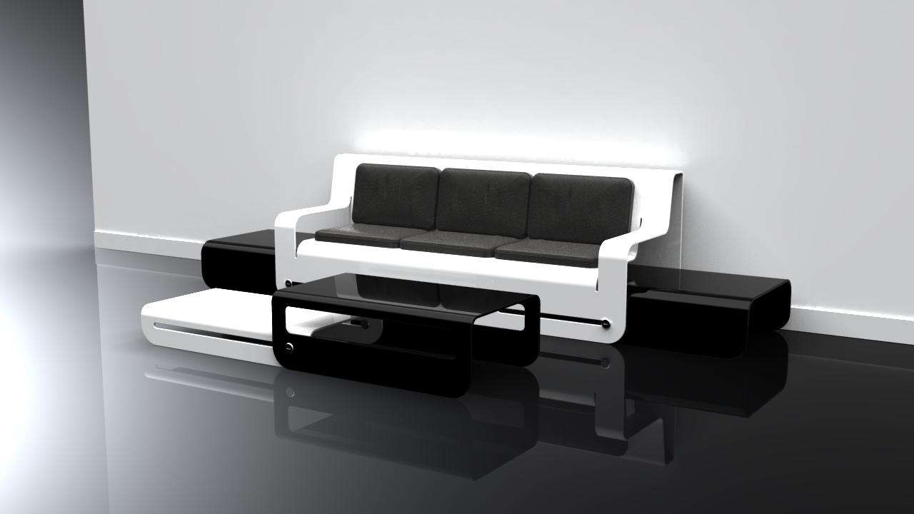 White Lounge + Black Coffee Table Set Design