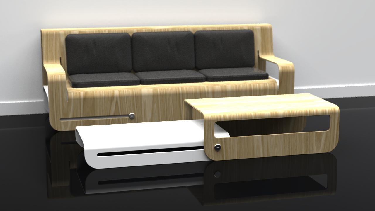 Dropwood Lounge + Side Slide (White) Coffee Table