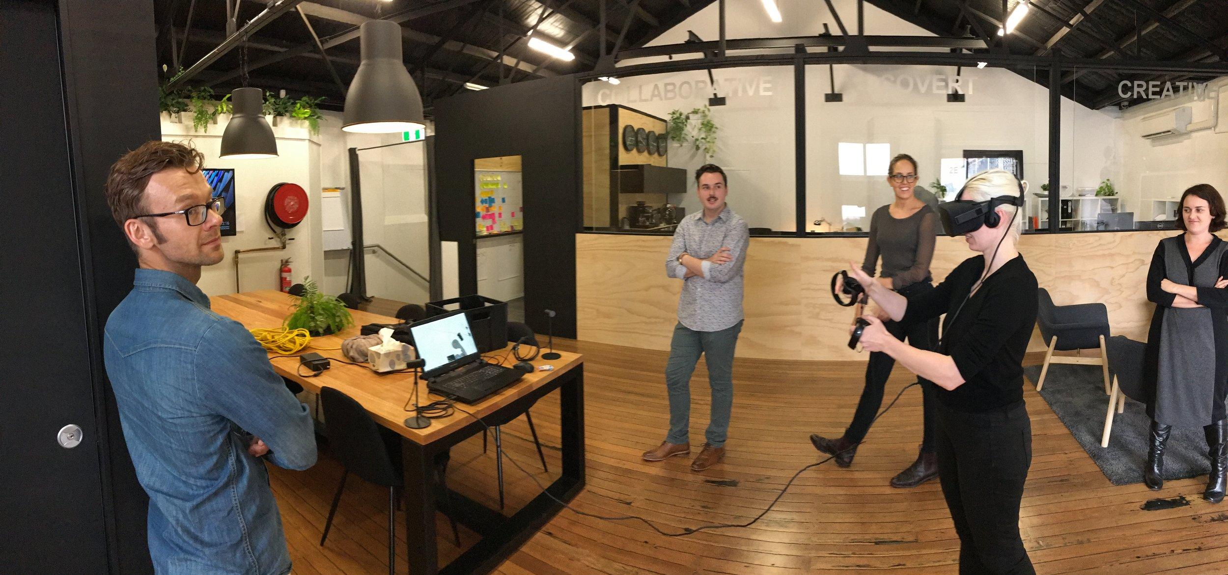 Studio Demo Day - VR Experiences - L to R: Jason Smith, Angus Shaw, Alex French, Sara Pontoppidan and Felicity Davidson