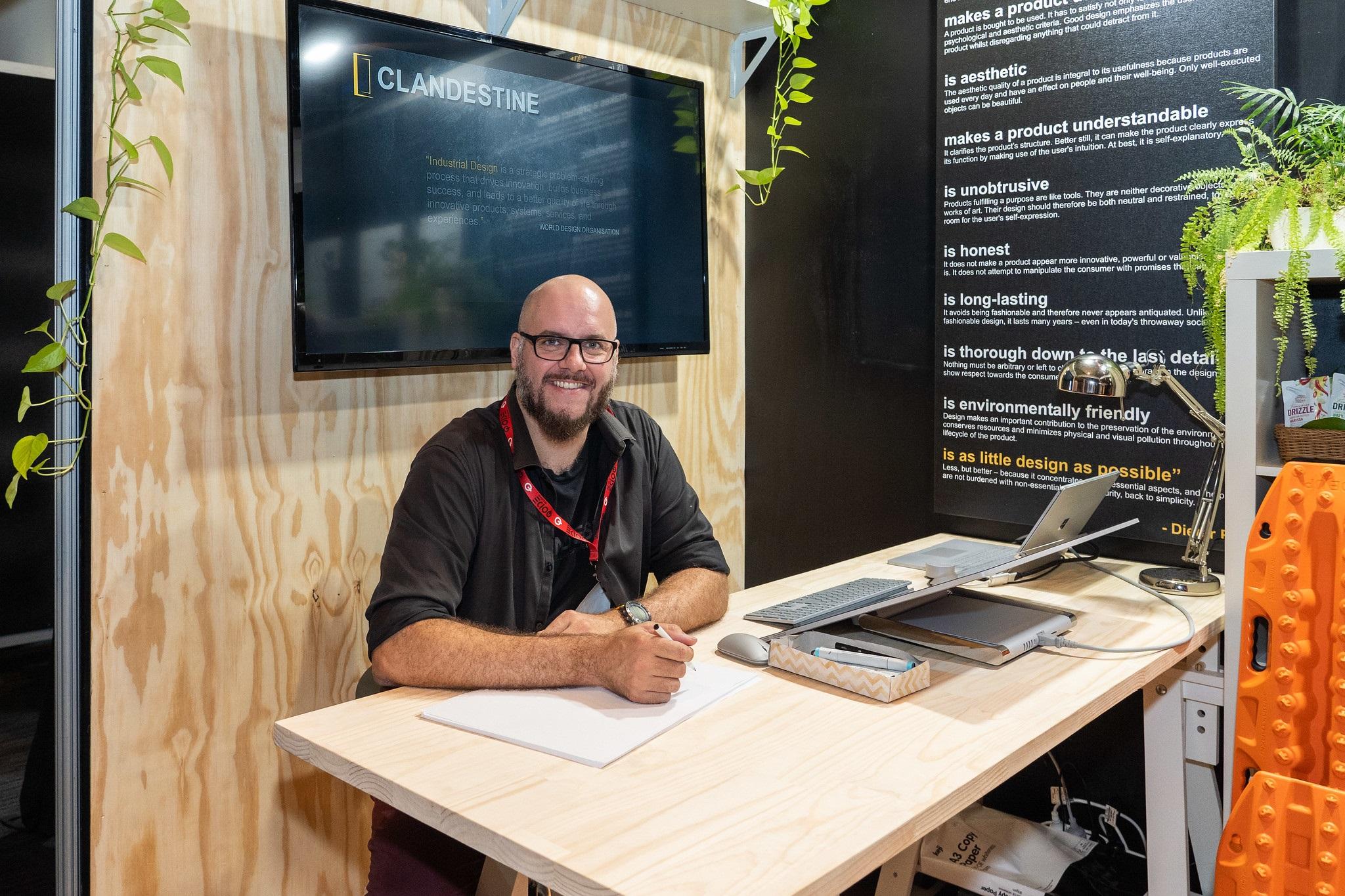 CDG's Design Director Neil Davidson manning our booth at QODE