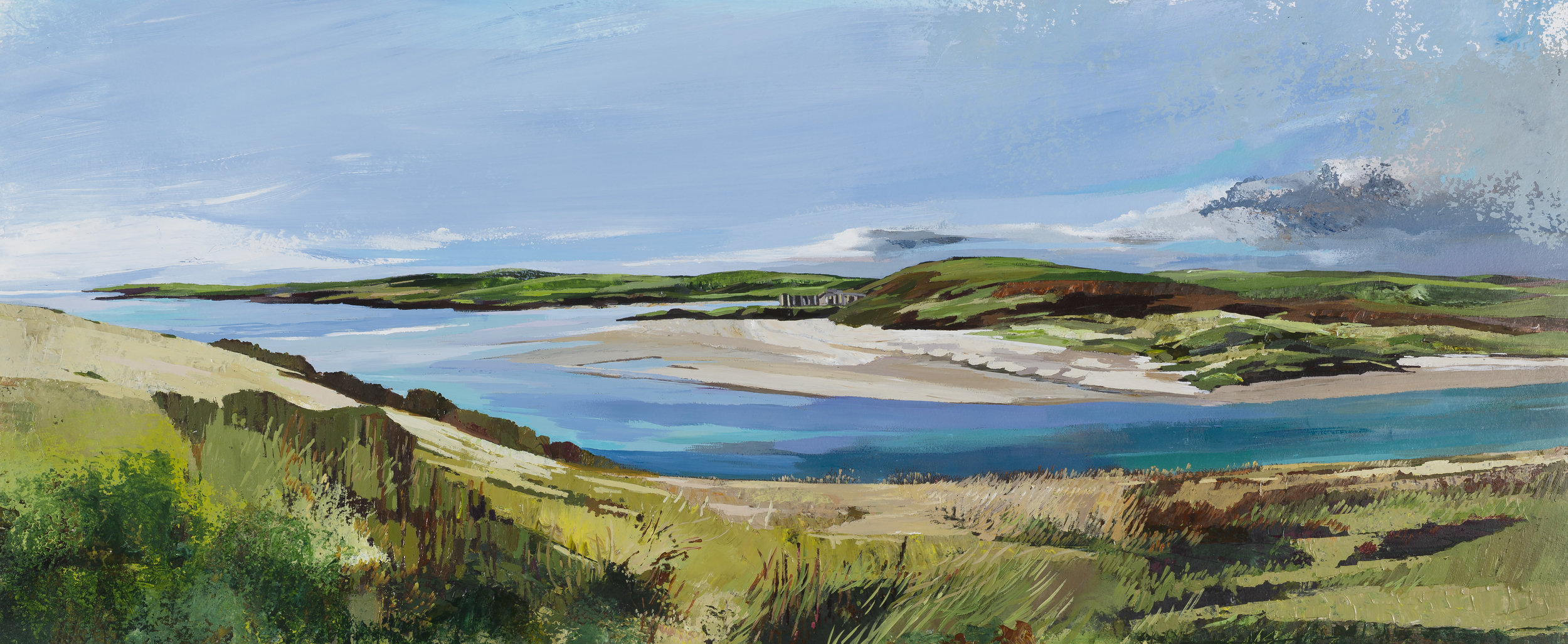 """Inchydoney Clonakilty and Duneen Point in the Distance"" , Framed size 54 x 105 Medium: Acrylic on watercolour paper.Under Glass. Since shipping costs for originals vary greatly depending on destination, please talk to Geraldine directly if you are interested in a painting at ++353-(0)87-683 1751"