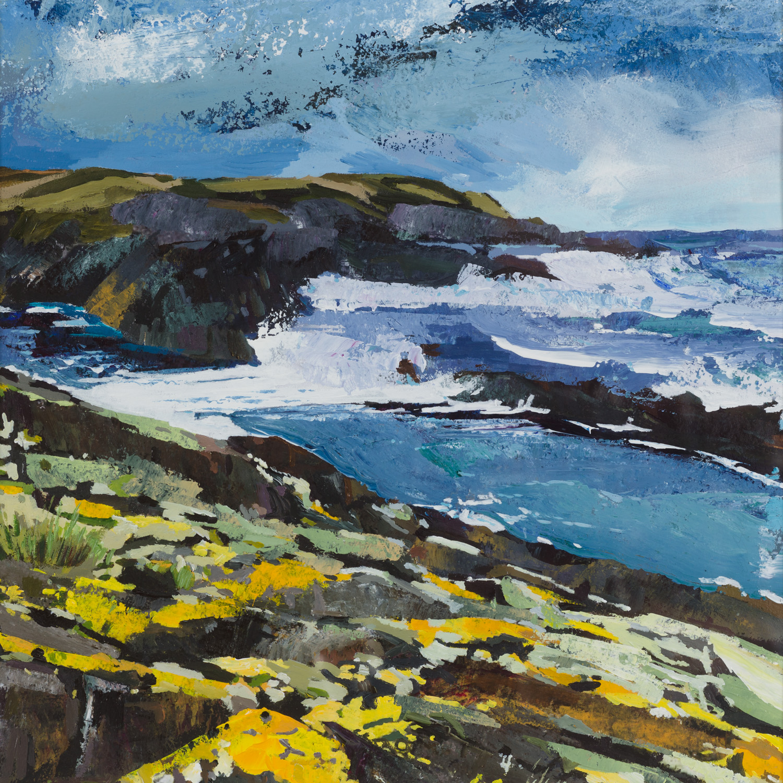 Yellow Lichen on Coastal Rocks - 55x54cm.jpg