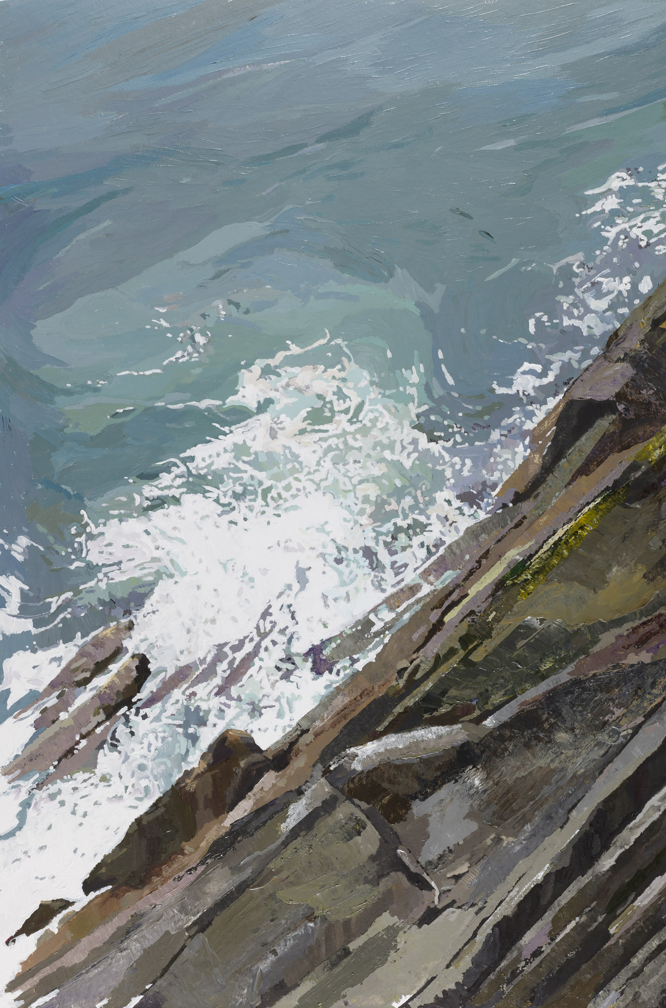 Old Head of Kinsale, looking down from the Lighthouse Balcony.  Acrylic on canvas, 85cm x 67cm Framed Size