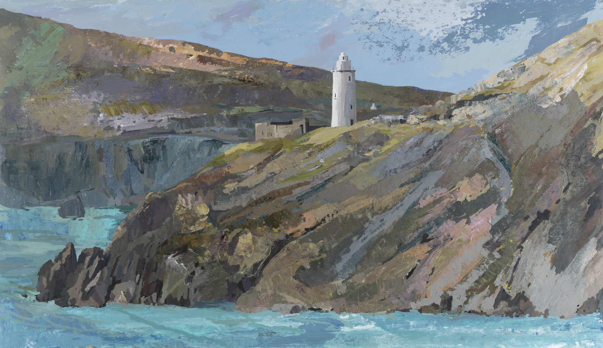 Ardnakinna Lighthouse, Castletownbere Haven_ acrylic on paper, 60x95cm framed (preview size).jpg