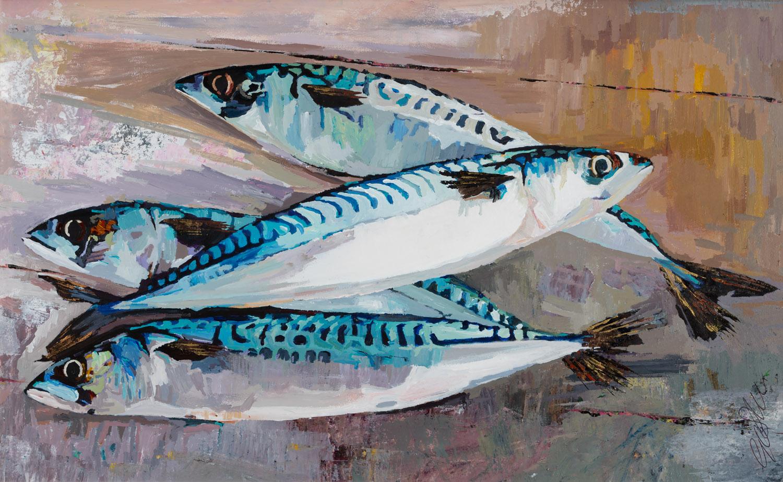 Four Fresh Mackerel, 60x78cm.jpg