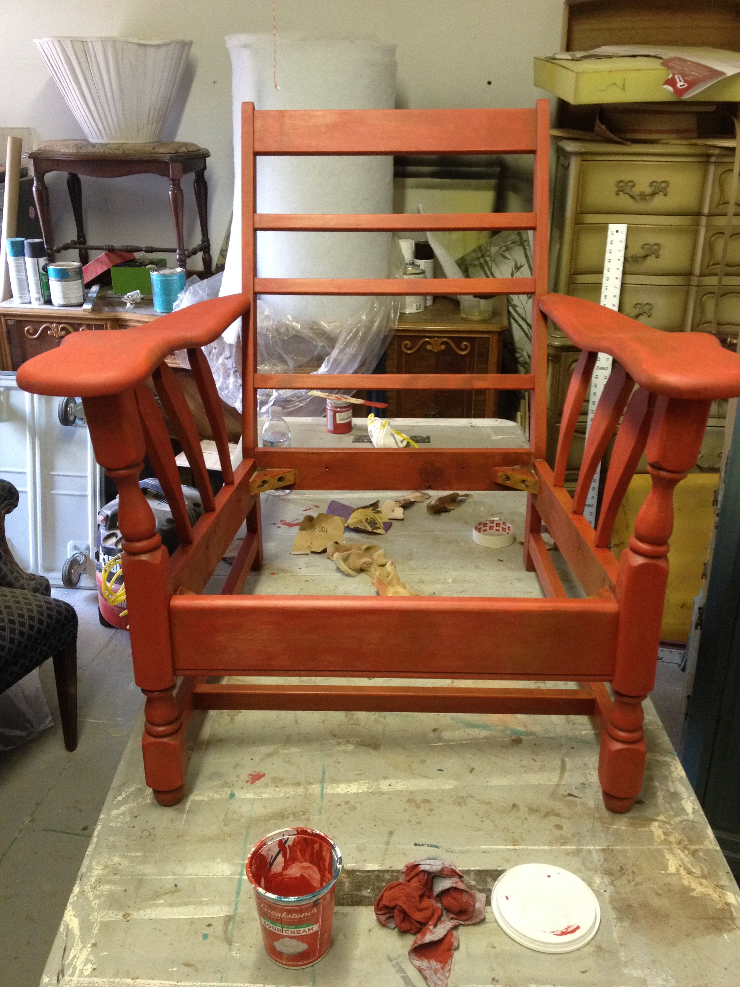 first coat of Jersey Tomato Red