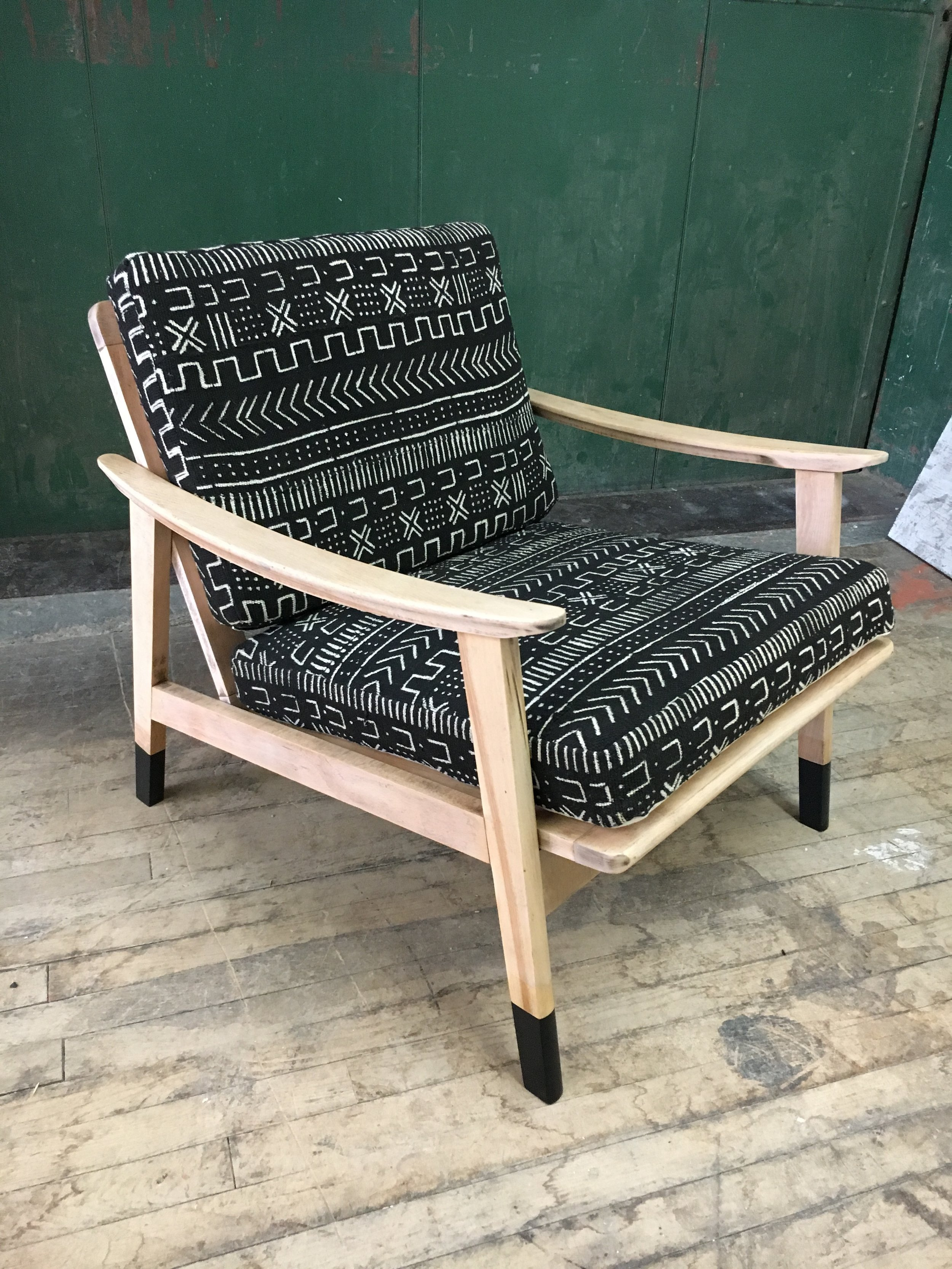 Mid Century Modern Yugoslavia Chair with Authentic Mud Cloth Cushions
