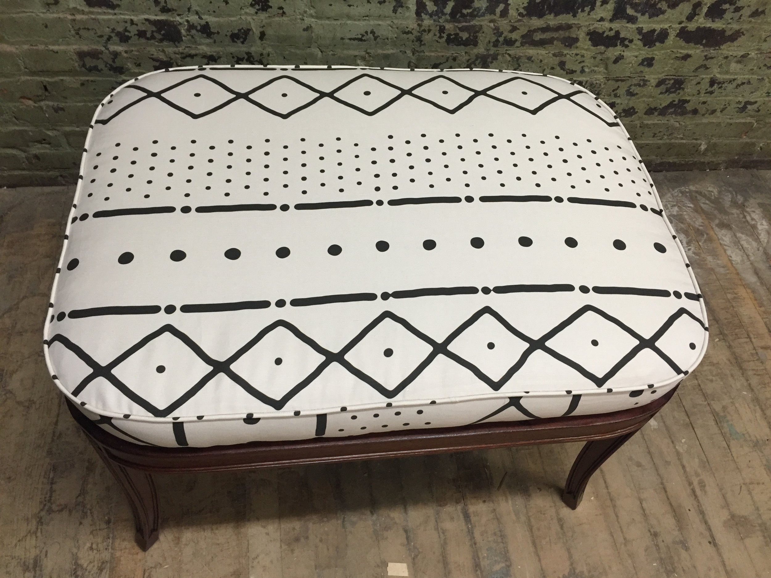 White Mudcloth Ottoman with Mahogany Base FOR SALE $275