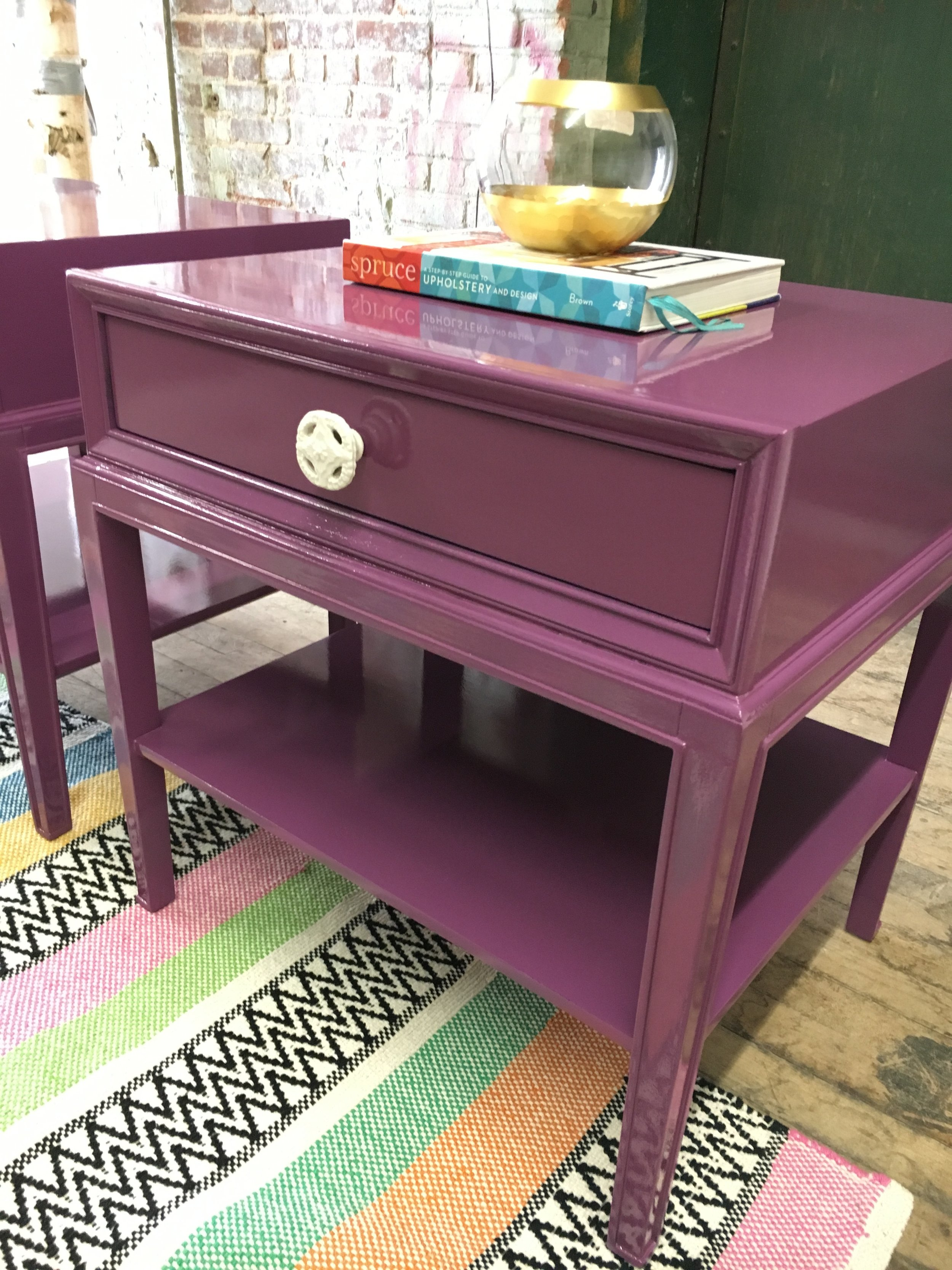 purple nighstand