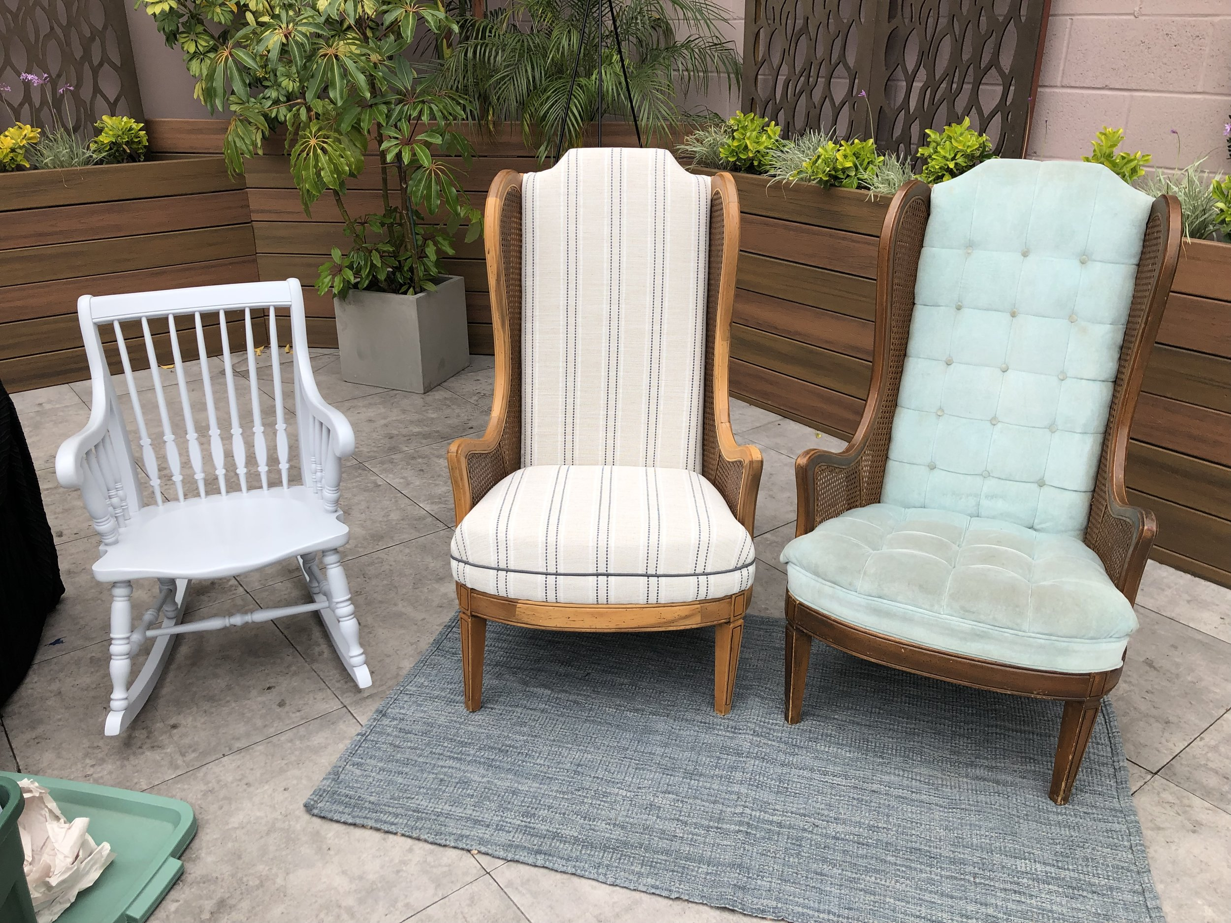 Refurbished Rocking Chair, Caned Wingback Chairs After (Stripes) and Before (blue velvet)