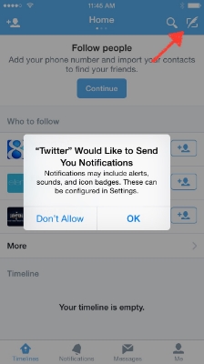 Regarding notifications, decide on your own. After that tap the Feather in the box to Tweet.
