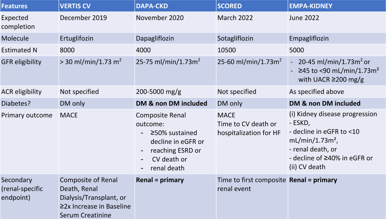 Table 2: Ongoing trials of SGLT2i of interest to the Nephrology Community