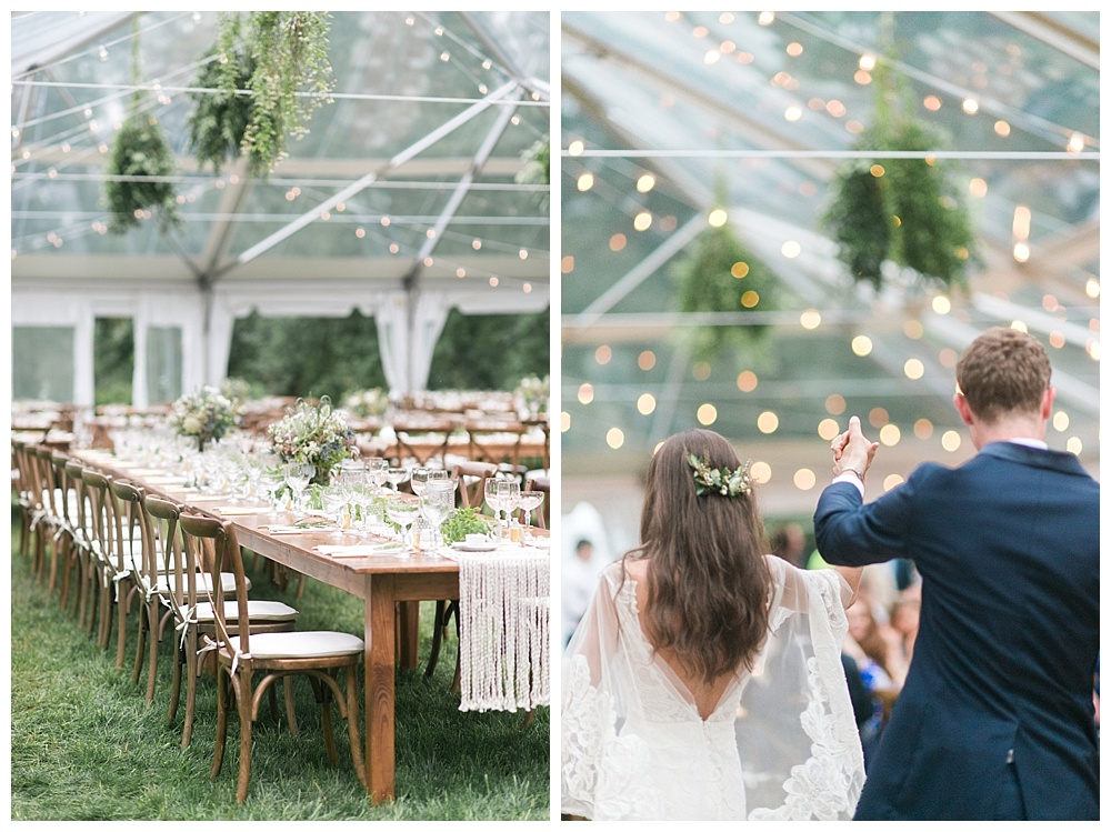 luxury boston private estate wedding with clear top tent and bistro lights