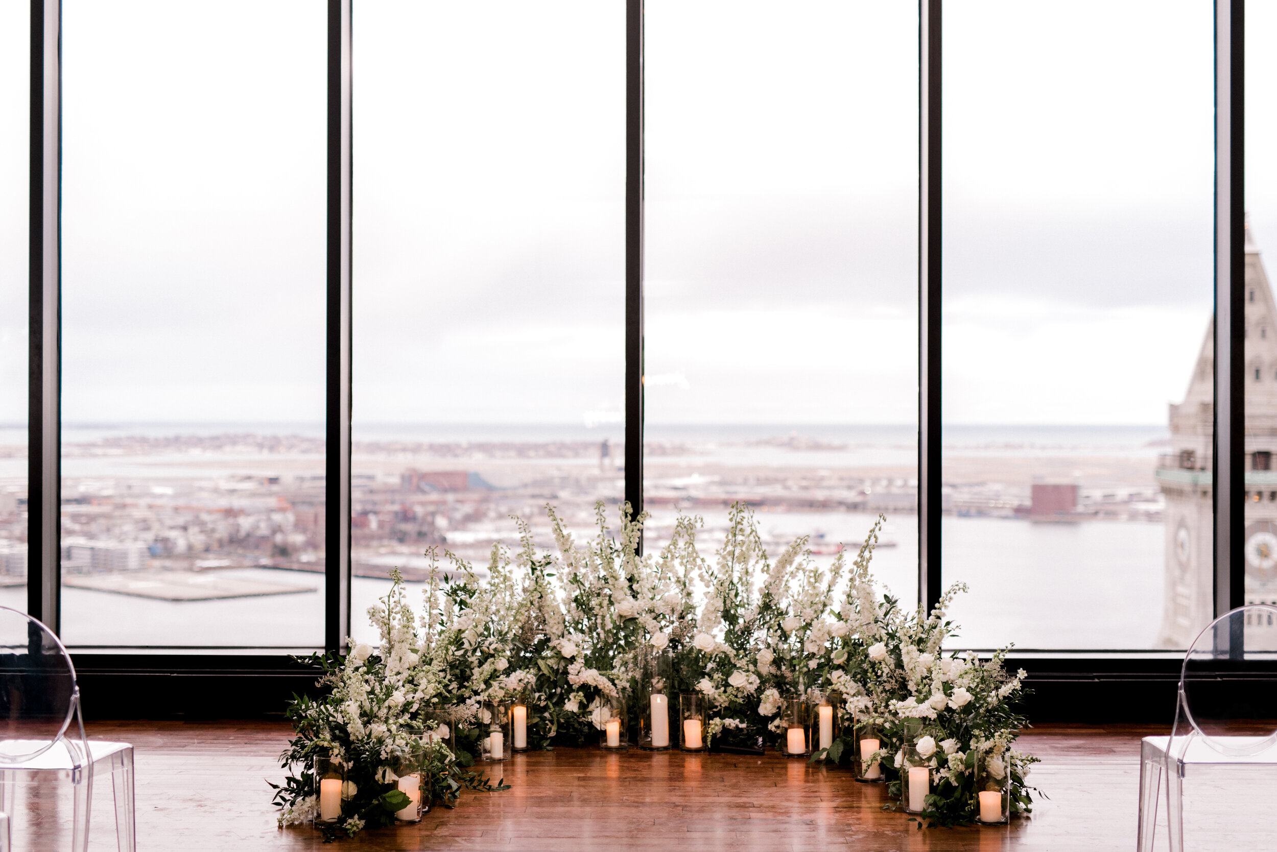 Ceremony floral installation (from the floor upwards as to not obstruct the view) Floral by The Wild Dahlia | Photography by Annmarie Swift