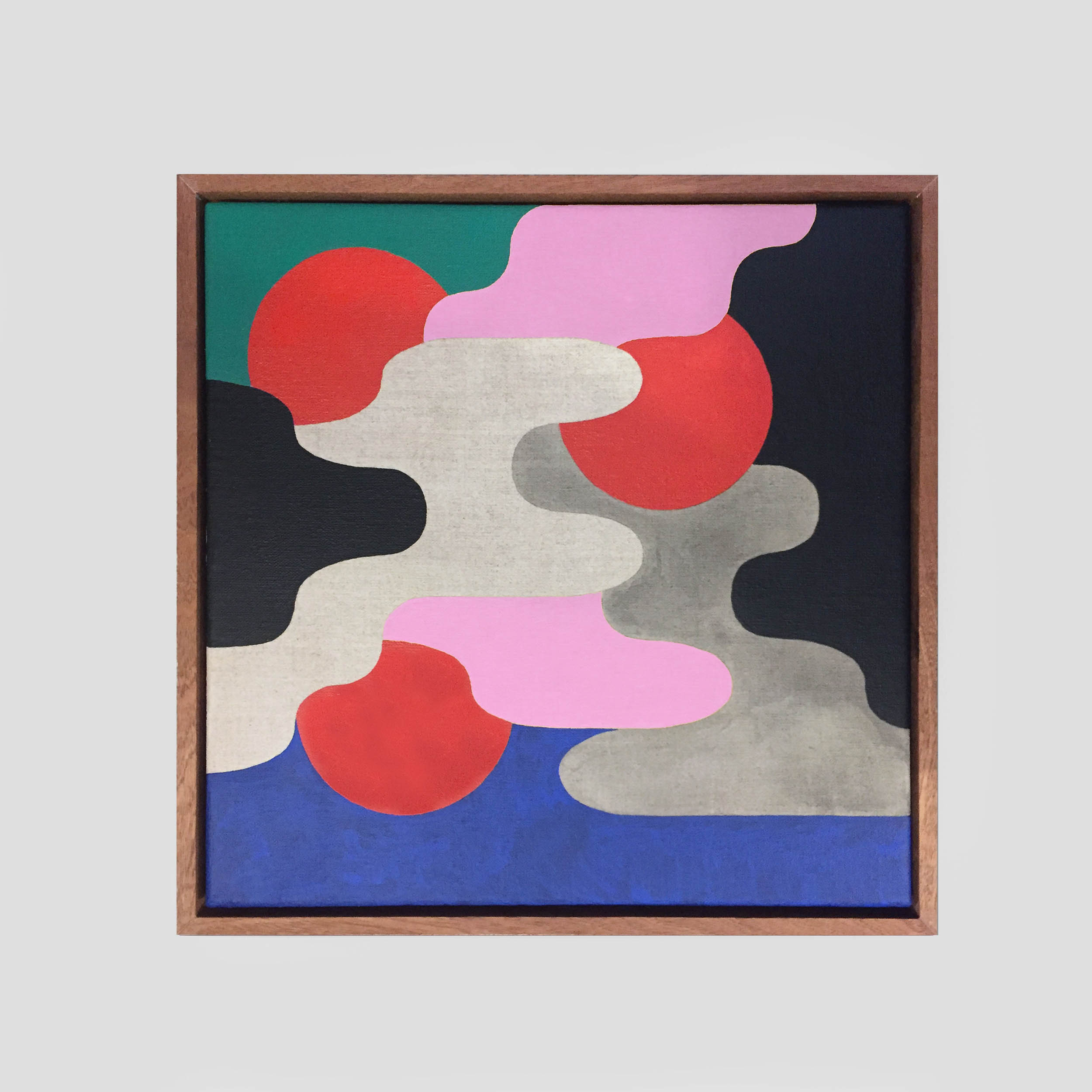 Coriolis   41 x 41 cm | acrylic on linen, sapele frame | 2018