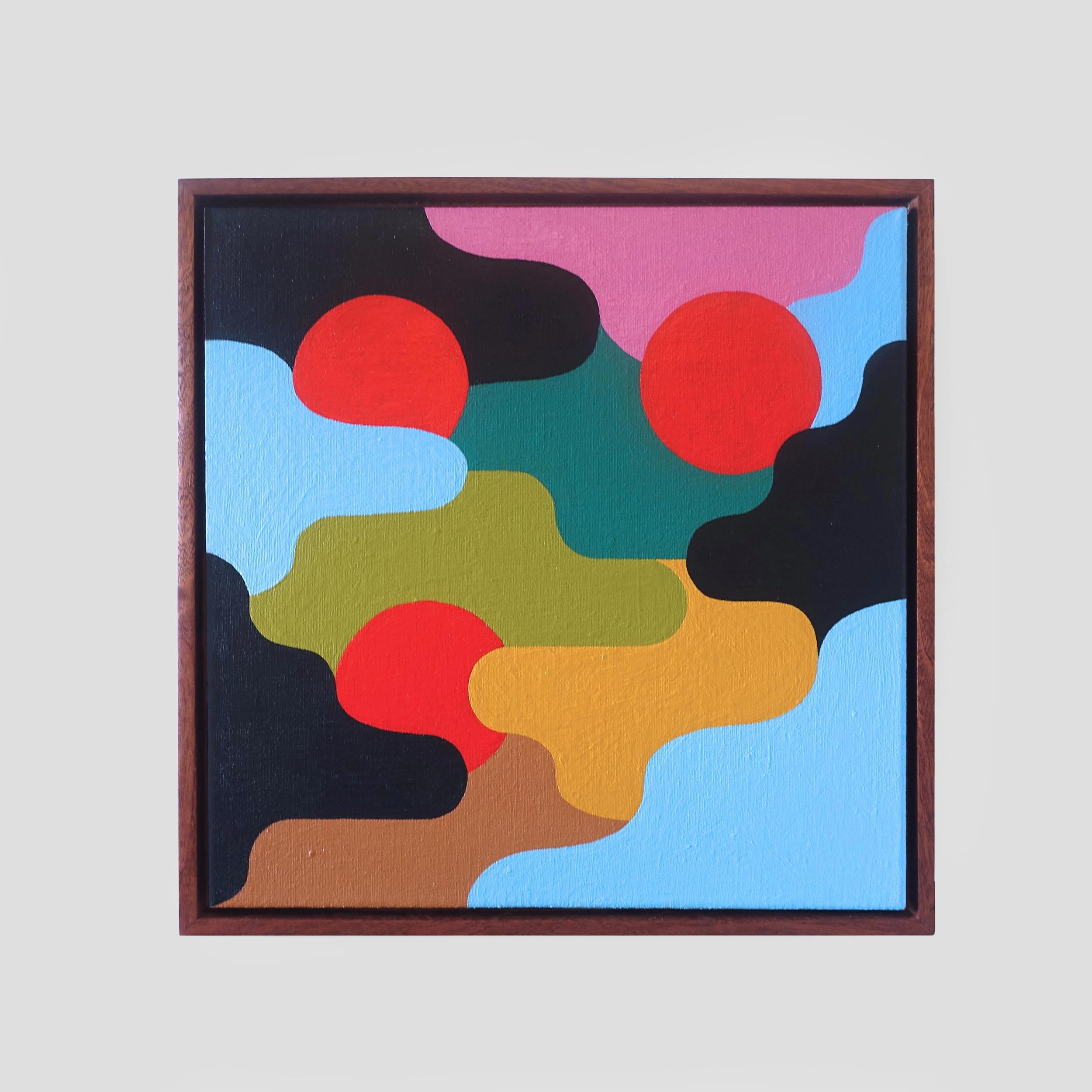 Aeolian  41 x 41 cm | acrylic on linen, sapele frame | 2018