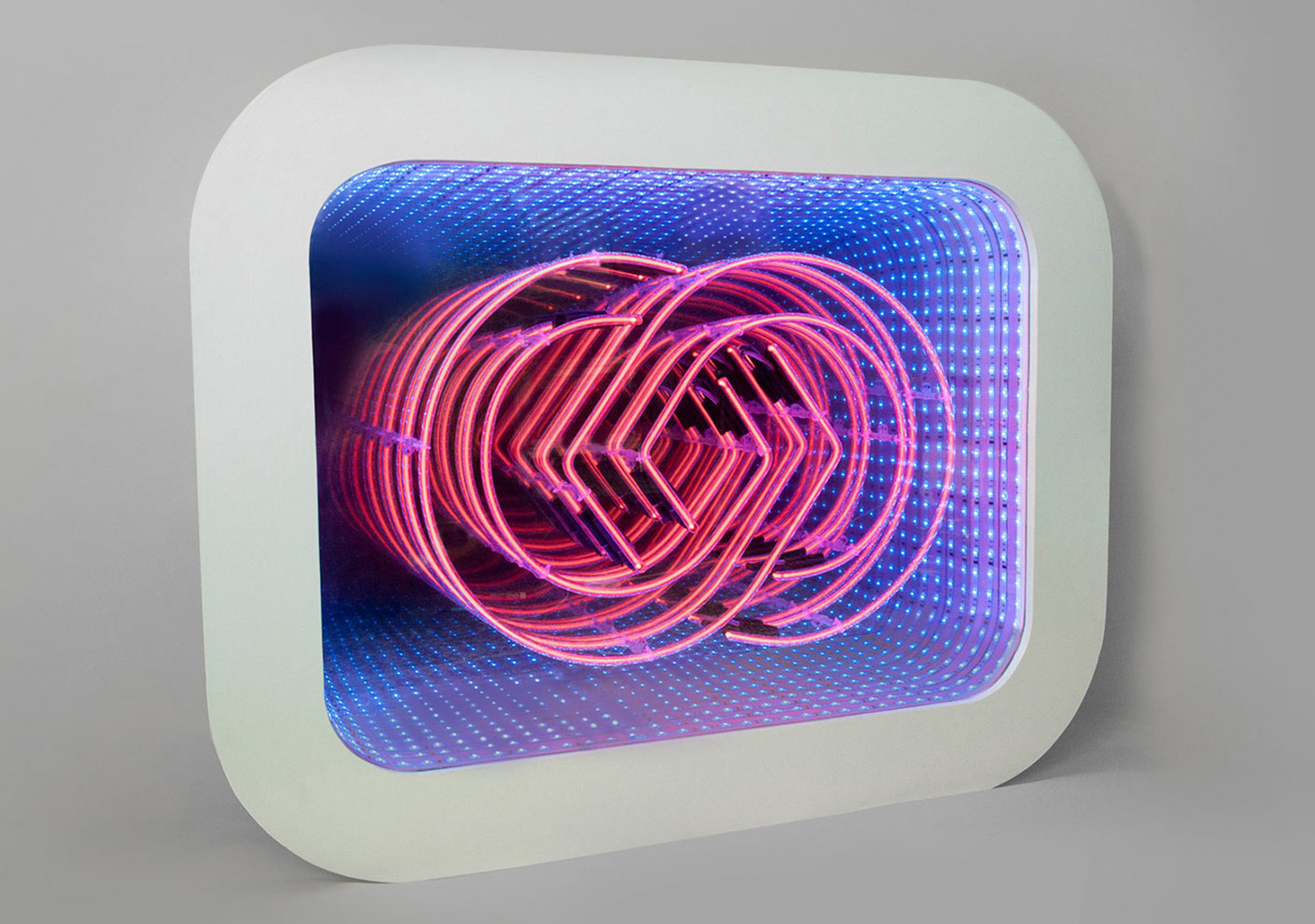 Neon infinity light box (commission)  Neon, pine, glass, perspex, mirror film, paint, LEDs | 2014   more info >