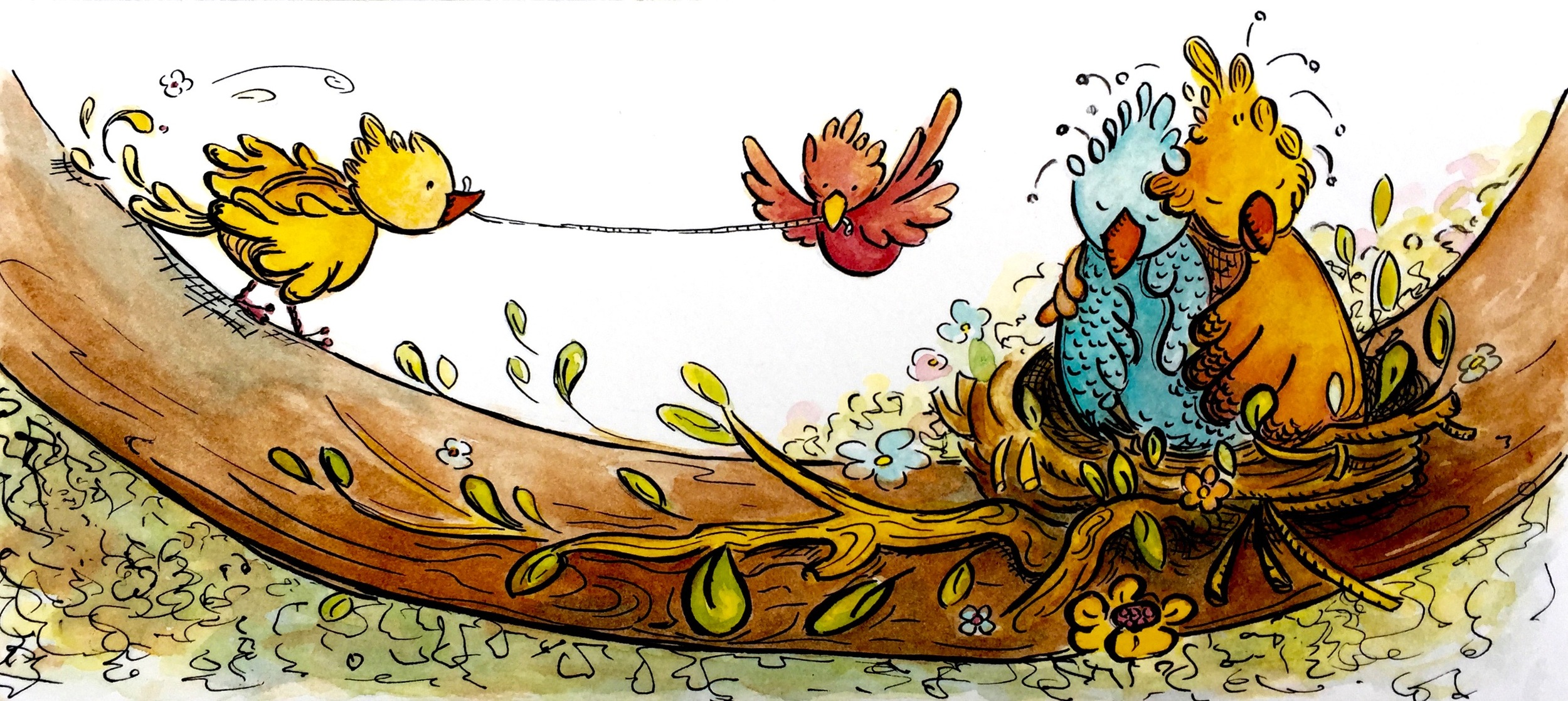 """Tug-A-Worm Created using dip pen and ink, and watercolor on illustration board. The original is 4"""" by 11""""."""