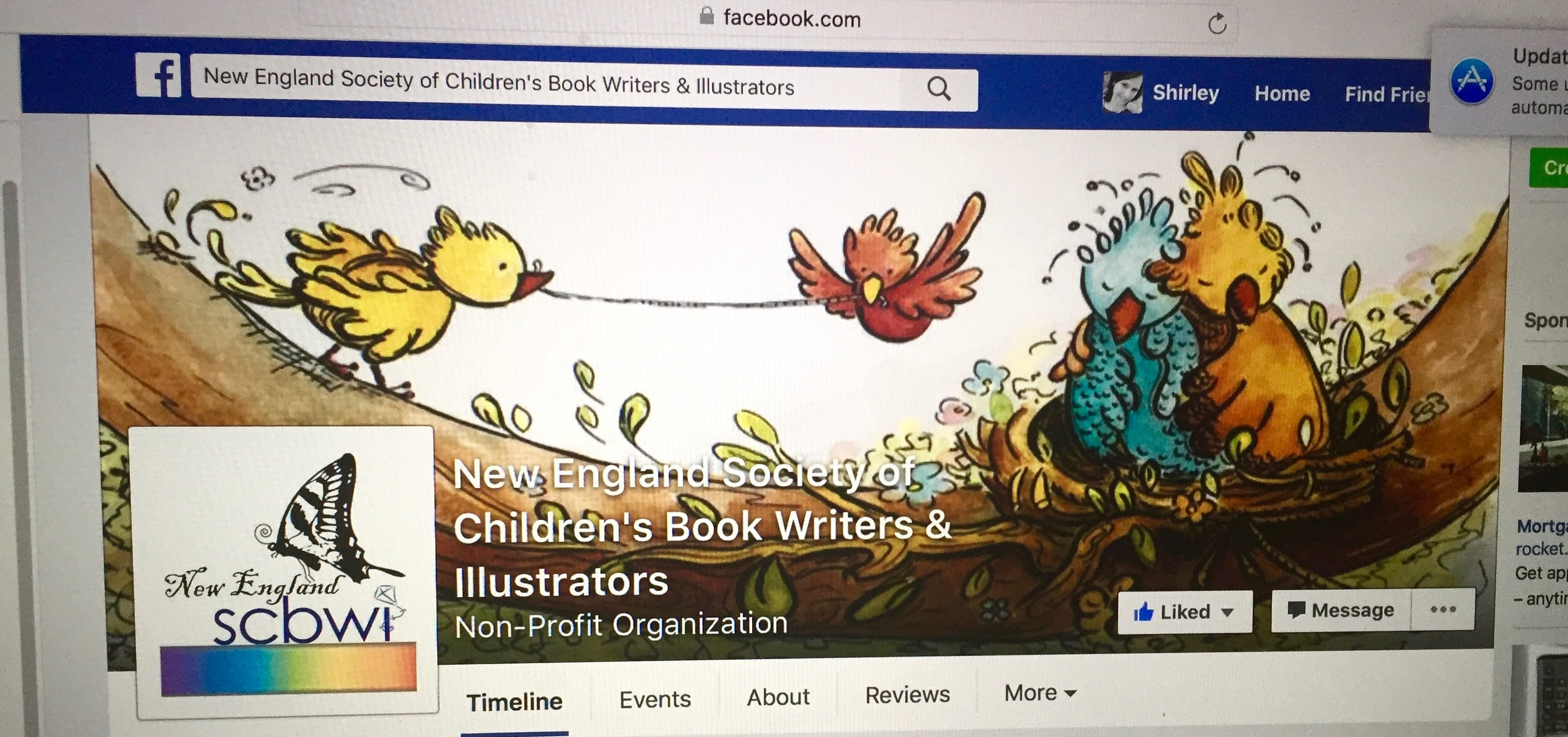 The final artwork on the NE SCBWI Facebook page.