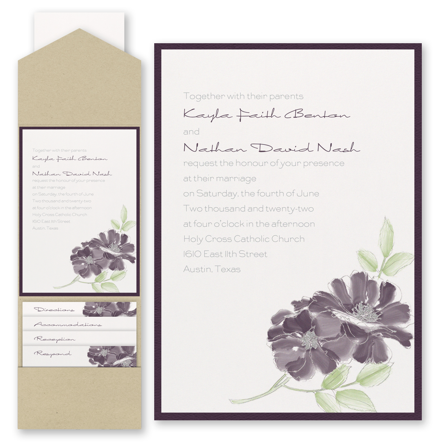 Hand-Drawn Floral - Invitation with Pocket