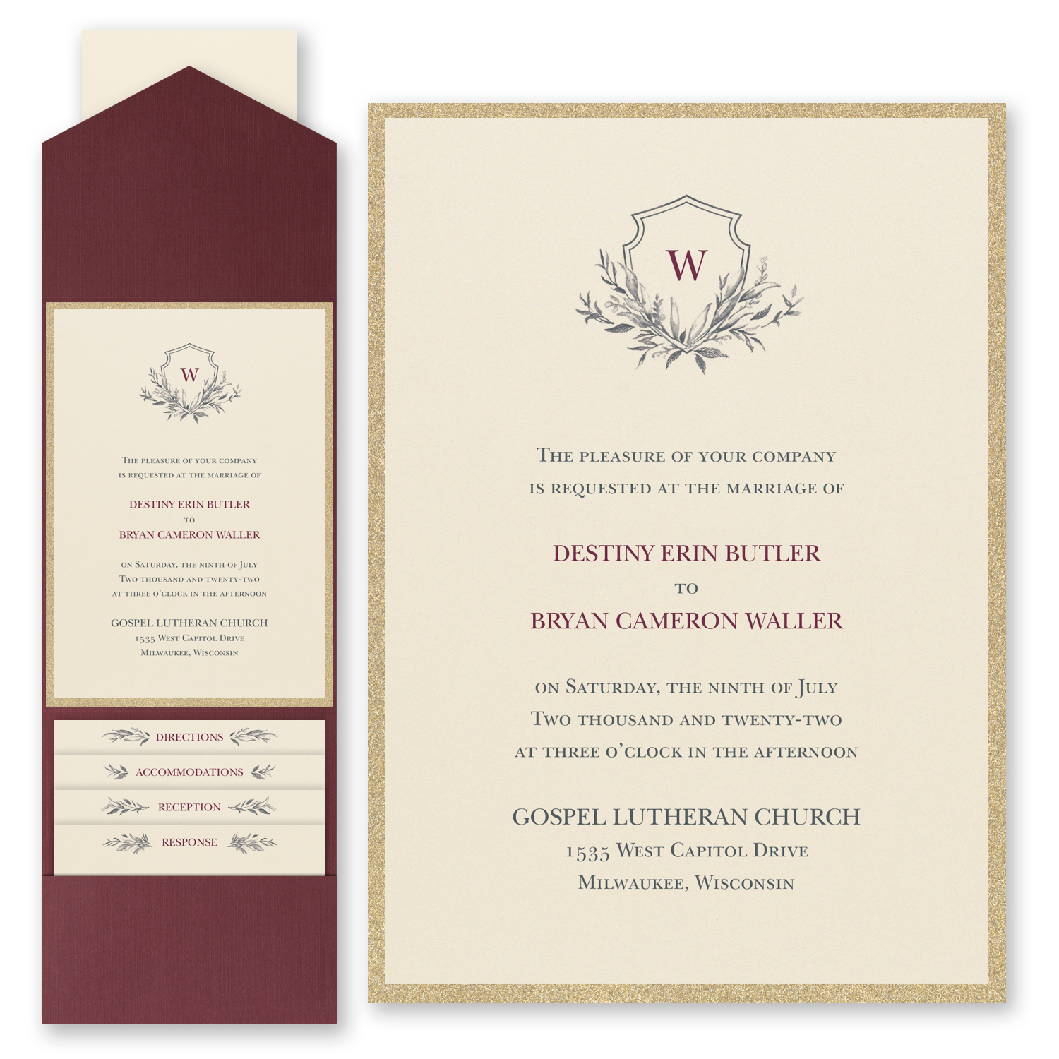 Greenery Crest - Invitation with Pocket