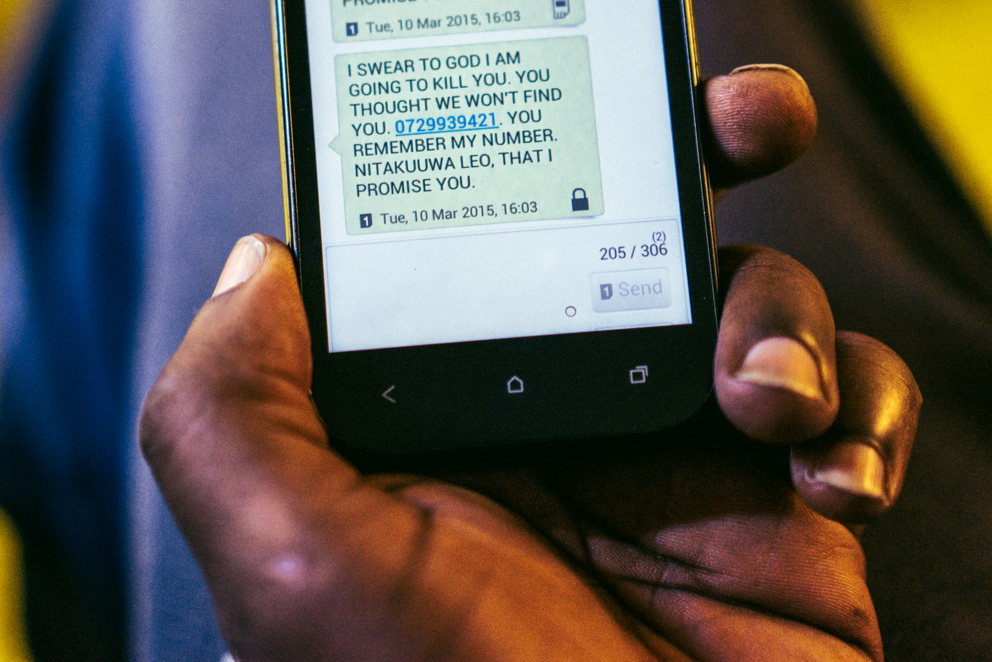 """A text message a gay refugee from Uganda received from an unknown number soon after he arrived in Kenya. The sender threatened to kill him that same day, and so he went into hiding. Because he was unsure who sent the message, he lived in constant fear. """"It's a life of hiding. You have to hide,"""" he said. He has since been resettled in the United States, but still has family living in Uganda. Until they are able to join him in the United States, he will not feel truly at ease."""