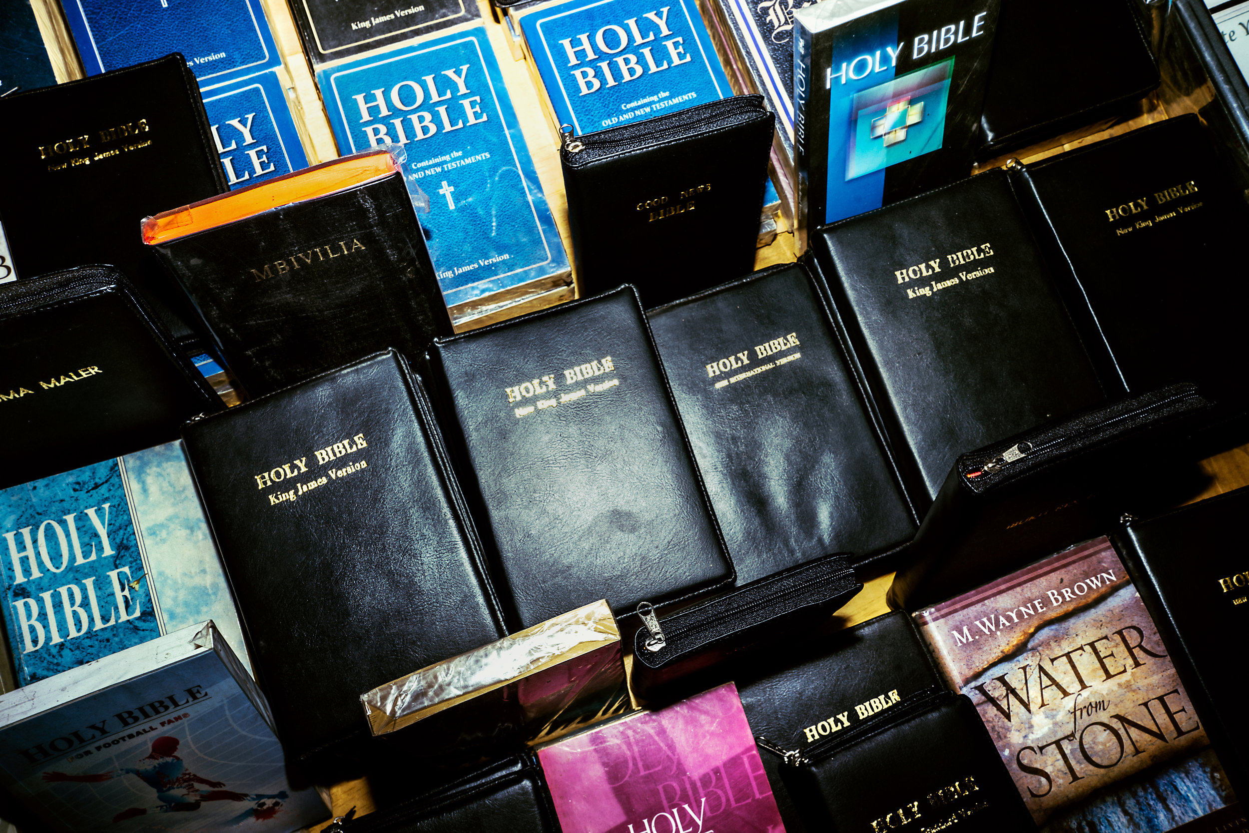 Bibles for sale on the streets in Nairobi. Advocates say that the increasing prevalence of evangelical christians has led to an increase in homophobia.