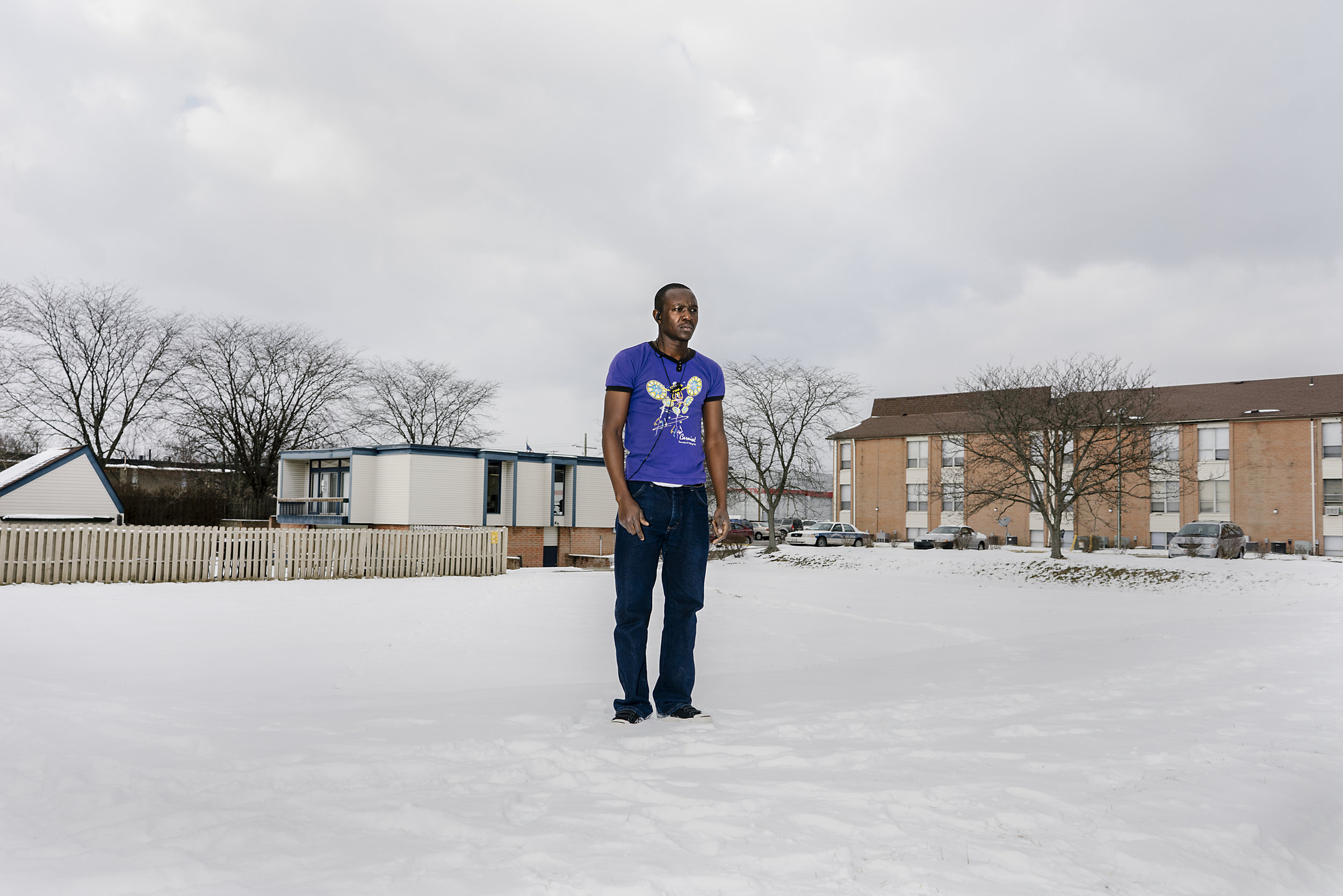 Bonny poses for a portrait near his home in Ohio. After more than a year of living in the squalid Kakuma refugee camp, he was resettled in the United States. He works the night shift in a refrigerated warehouse, so told me he's no longer bothered by the cold.