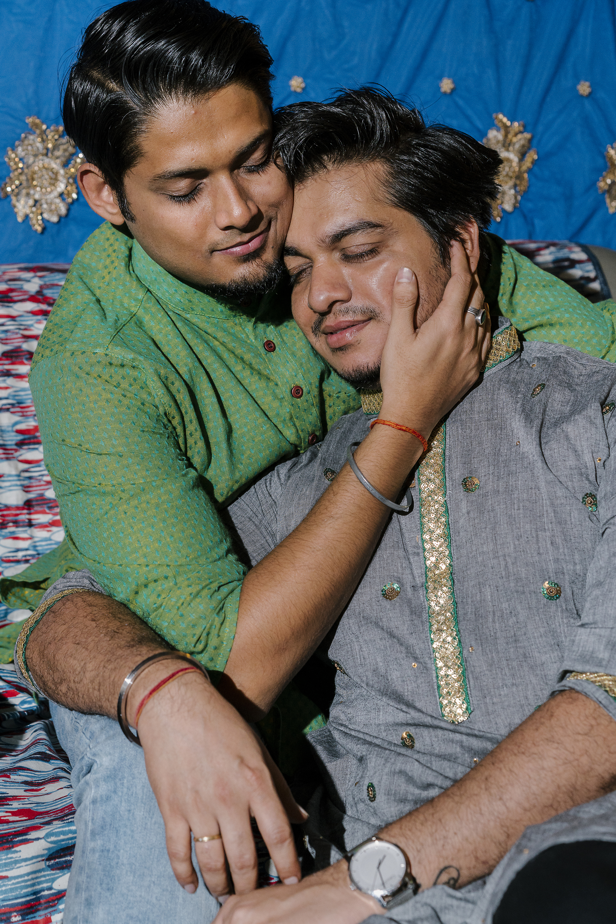 Inder Vhatwar poses for a portrait with his partner, Ashish Srivastava, in the home the two share in Mumbai. Vhatwar is a prominent gay activist in Mumbai. He ran D�kloset, the only gay fashion shop in the city, but was forced to close it when his landlord wouldn�t renew his lease after Section 377 was reinstated.