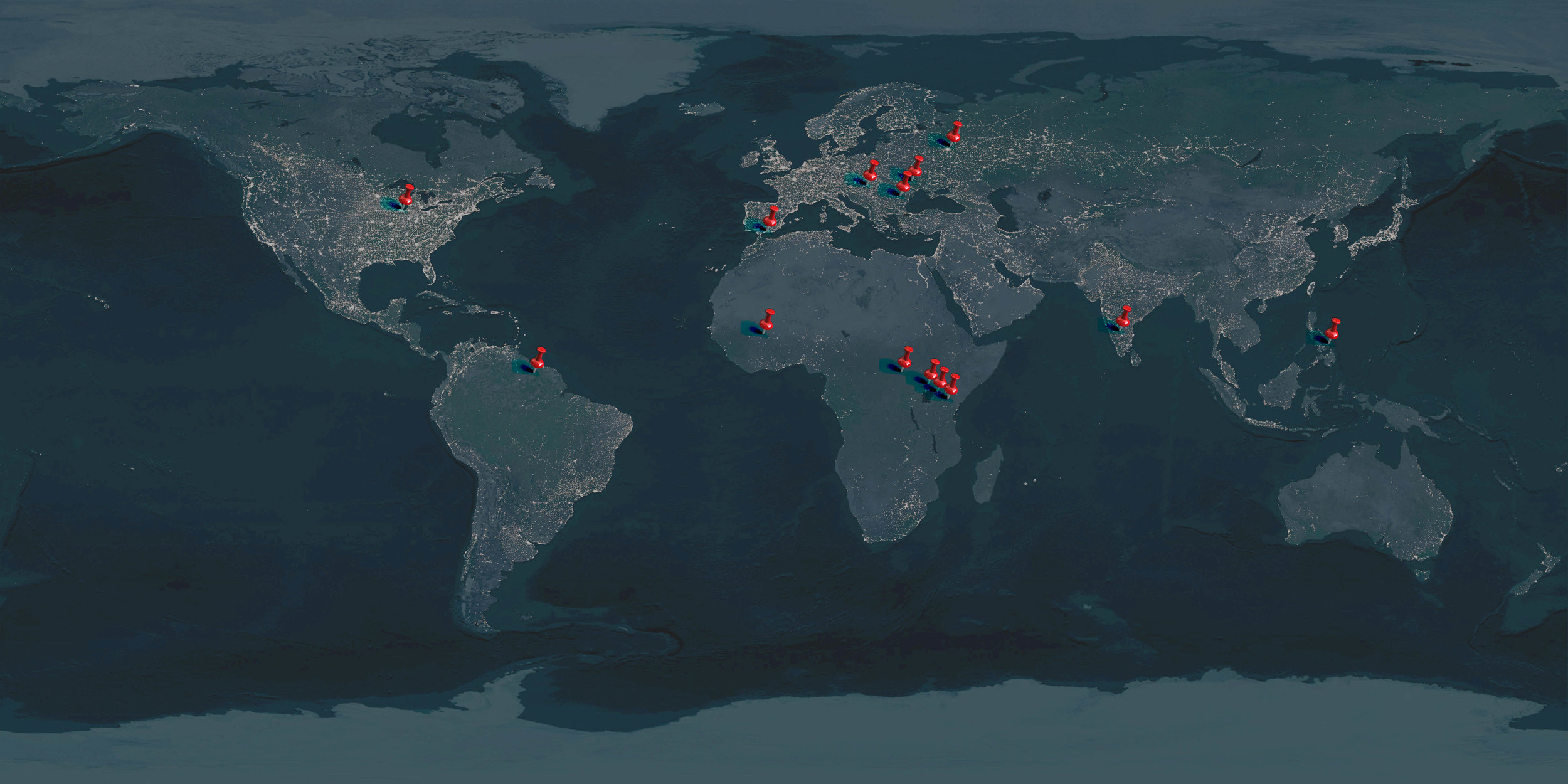 Each of these red pushpins represents an active PIEI ministry: 12 countries and over 100 missionaries working for the glory of our great God!