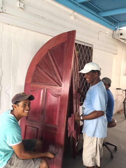 polishing Alness front door.JPG