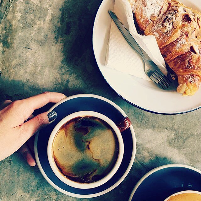 Lovely photo from @dawnniedawn from this past weekend of our Americano & Almond Croissant. #coffeetime #greatcustomers #americano #noms #croissant #weekendcoffee #butfirstcoffee #customerphotos