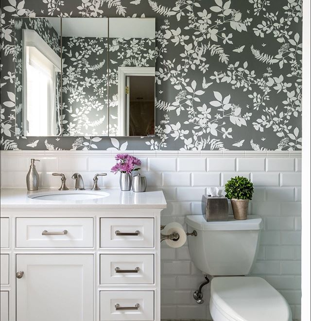 I never tire of this wallpaper and heck, what a way to spice up an all-white bathroom.  Check out the rest of the Harrison project on our website. . . . . . #interiordesigner #bold #makingbeauty #ilovewallpaper #bathroomrenovation #masterbathroomredo #bathroomgoals #longislandinteriordesigner #bathroomsofinstagram #christinabyersdesign #interiordesign #interiordecorating #interiordecorator