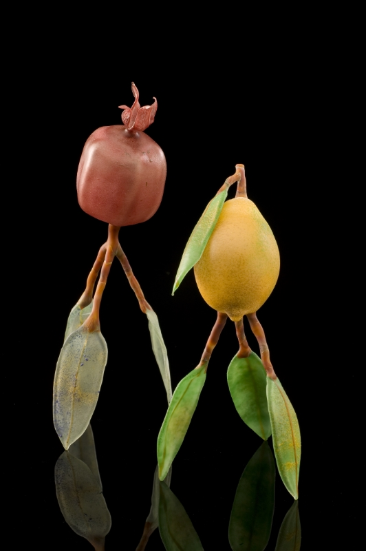 Pomegranate and Lemon on Leaf Legs